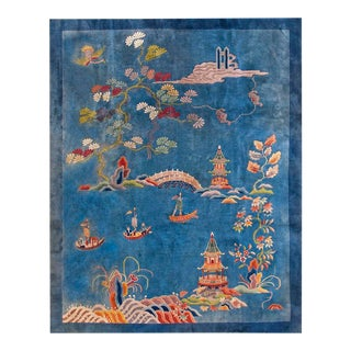 "1920s Antique Chinese Art Deco Rug- 9'0"" X 11'9"" For Sale"