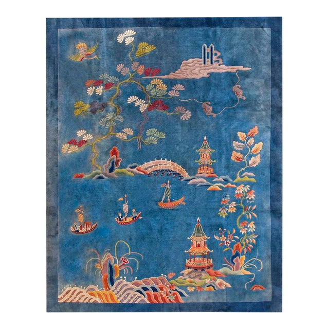 """1920s Antique Chinese Art Deco Rug- 9'0"""" X 11'9"""" For Sale"""