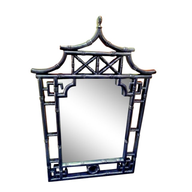 Palm Beach Regency Chinoiserie Navy Blue Pagoda Faux Bamboo Fret Work Wall Mirror For Sale