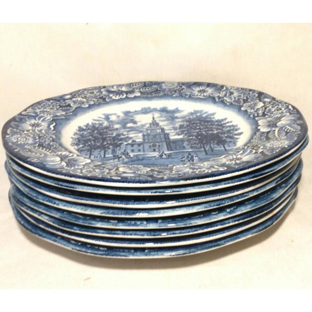 "Late 20th Century Staffordshire ""Independence Hall"" Dinner Plates - Set of 6 For Sale - Image 5 of 9"