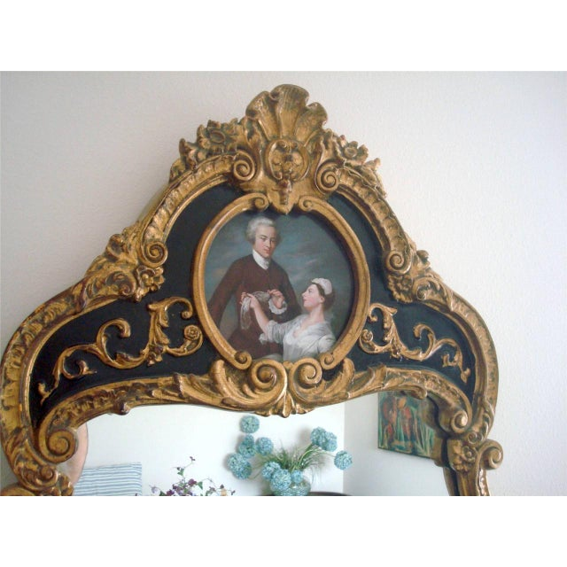 Glass French Style Gold Gilt Wood Hand Painted Wall Mirror For Sale - Image 7 of 10