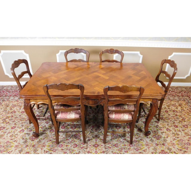 1960s French Country Oak Draw Leaf Table & 6 Chairs - Image 2 of 10