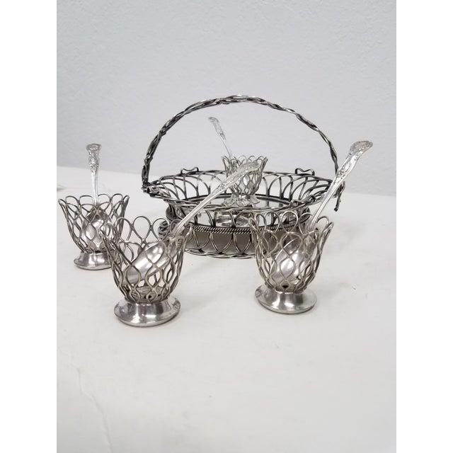Antique English Silver Plate Elkington Four Egg Server Cruet - 1853 Elkington & Co. was a silver manufacturer from...