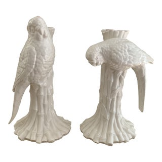 White Ceramic Parrot and Faux Bamboo Candleholders - a Pair For Sale