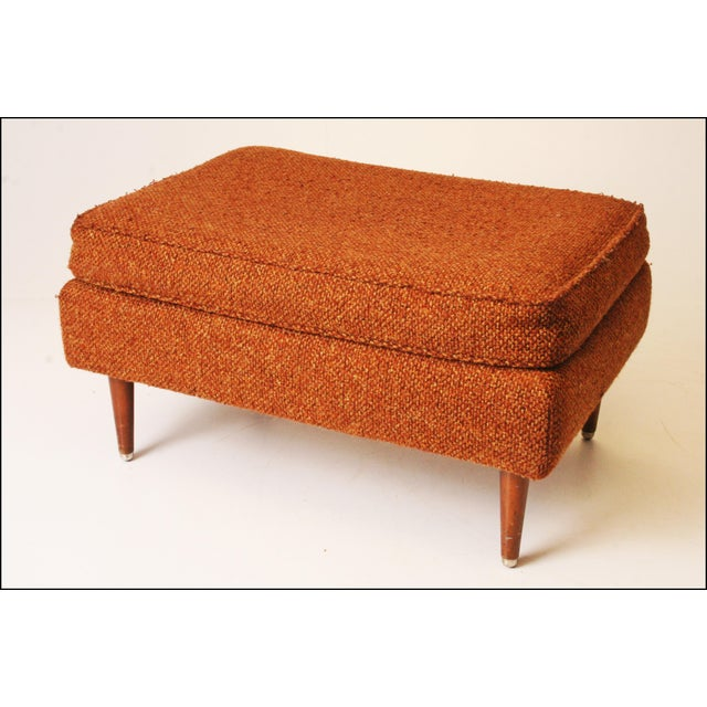 Mid-Century Modern Brown Upholstered Foot Stool - Image 5 of 11