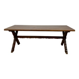 Early 20th Century French Oak Trestle Farm Table For Sale
