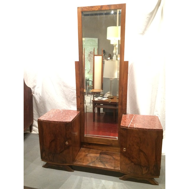 French Art Deco Dressing Table With Full Length Mirror And Marble Top For Image