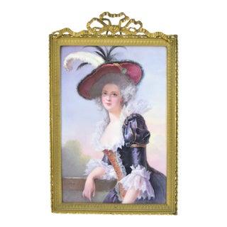 19th Century Antique O. Brun Elisabeth of France Continental Hand-Painted Porcelain Plaque For Sale