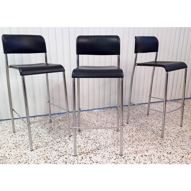 Italian Chrome Bar Stools - Set of 3 For Sale - Image 13 of 13