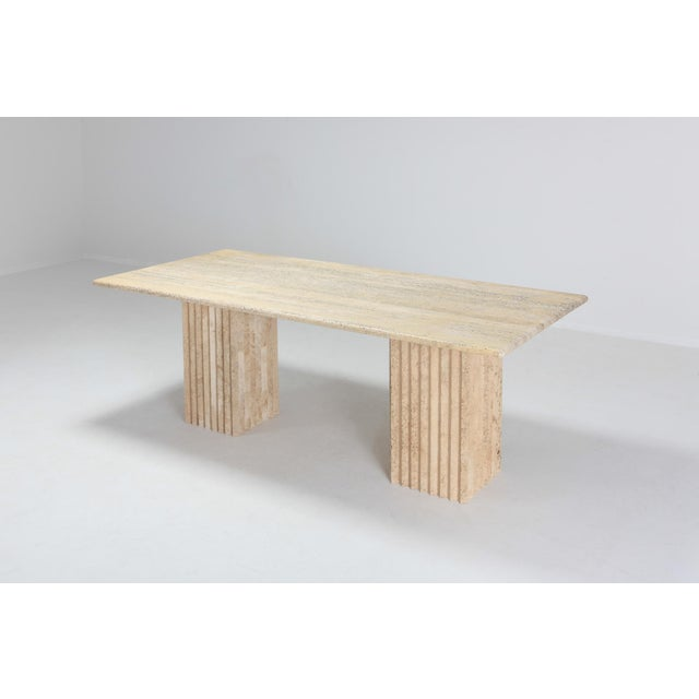 1970s Travertine Dining Table in the Style of Carlo Scarpa and Angelo Mangiarotti For Sale - Image 5 of 11