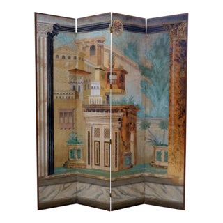 Hand Painted Maitland Smith Style Folding Screen Room Divider For Sale