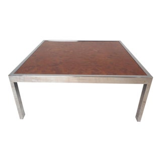 Mid-Century Modern Square Chrome Coffee Table by Milo Baughman For Sale