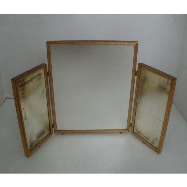 Brass Tri Fold Vanity Dressing Mirror, Brass Tri Fold Dressing Table Mirror