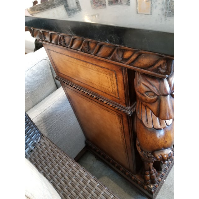 Traditional Black Faux Marble Top Buffet with Lion Motif Corner Pillars For Sale - Image 4 of 10