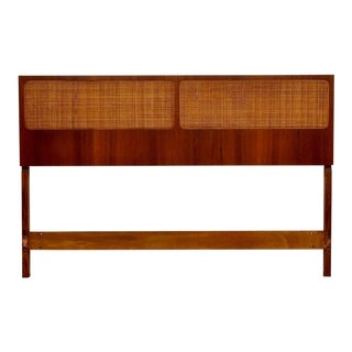 Teak and Cane Queen Headboard For Sale
