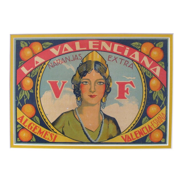 1920's Original Vintage Spanish Fruit Crate Label - La Valenciana - Naranjas Extra For Sale