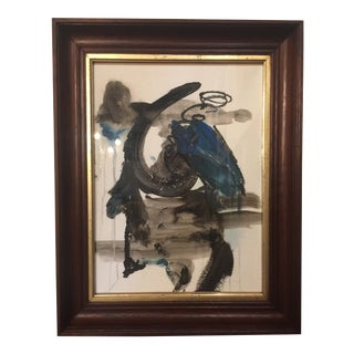 Original Abstract Painting in Antique Frame For Sale