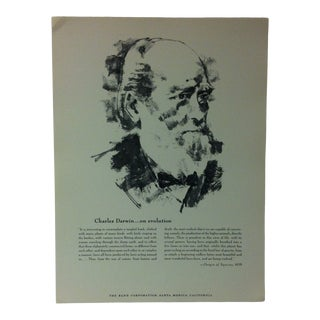 """1962 """"Charles Darwin - on Evolution"""" The Rand Corporation Famous People in History Print For Sale"""