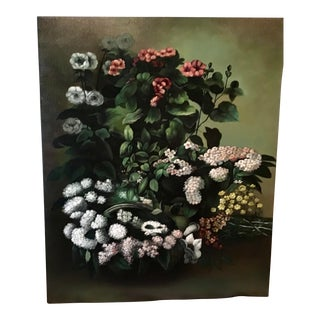 Vintage Chelsea House Original Floral Oil Painting on Canvas After a Master For Sale