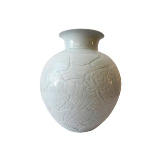 Celadon Moon Vase with Lotus Flower For Sale