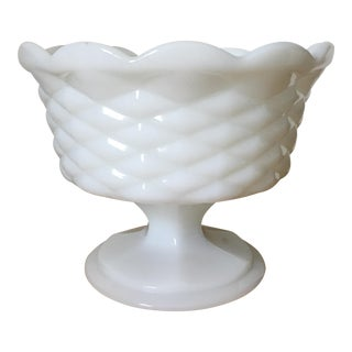 1960s Mid-Century Footed Milk Glass Bowl For Sale