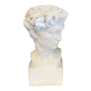 1980s Vintage Primitive White Head of David Statue For Sale