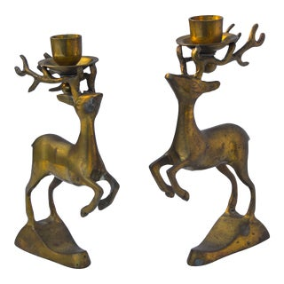 Brass Reindeer Candleholders- S/2 For Sale