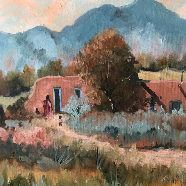 Impressionism 1960s Vintage Jan Wills Western Impressionist Landscape With Adobe Oil on Canvas Painting For Sale - Image 3 of 5
