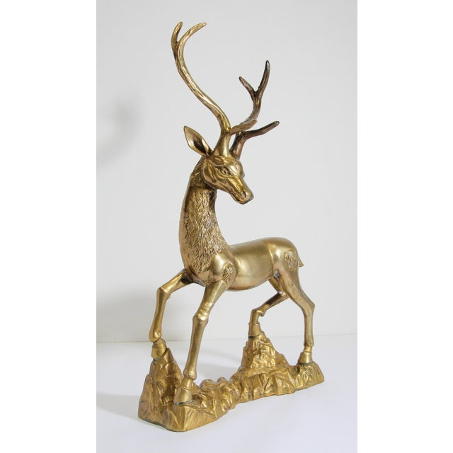 Hollywood Regency Cast Polished Brass Standing Stag Sculpture, 1960s For Sale - Image 12 of 13
