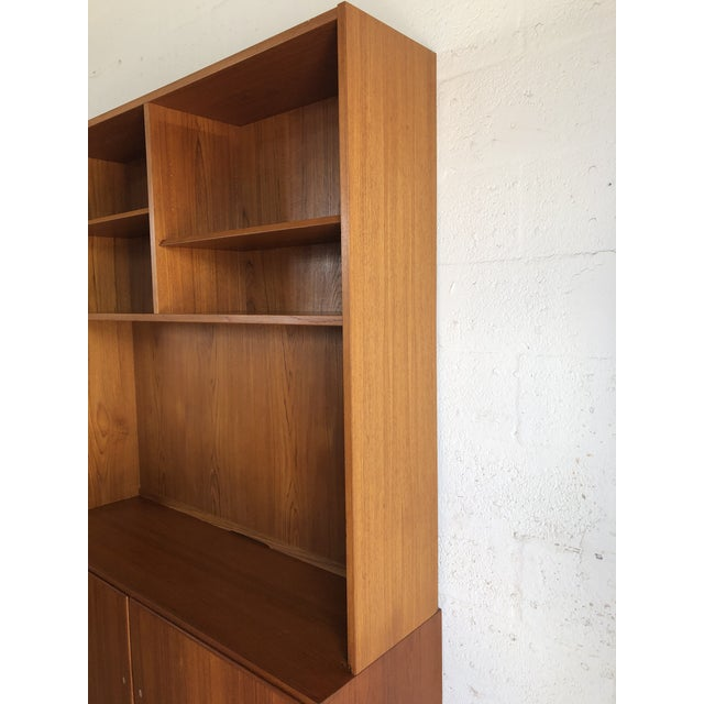 Wood Vintage Mid Century Danish Modern Filing Cabinet With Hutch by Poul Hundevand For Sale - Image 7 of 13