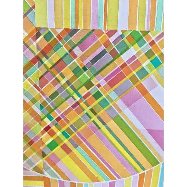 Mid 20th Century Mid-Century Modern Hard Edge Optical Art Painting, Signed, Circa 1960s For Sale - Image 5 of 13