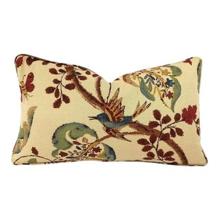 F. Schumacher Fox Hollow Document Natural Self-Welt Lumbar Pillow Cover For Sale