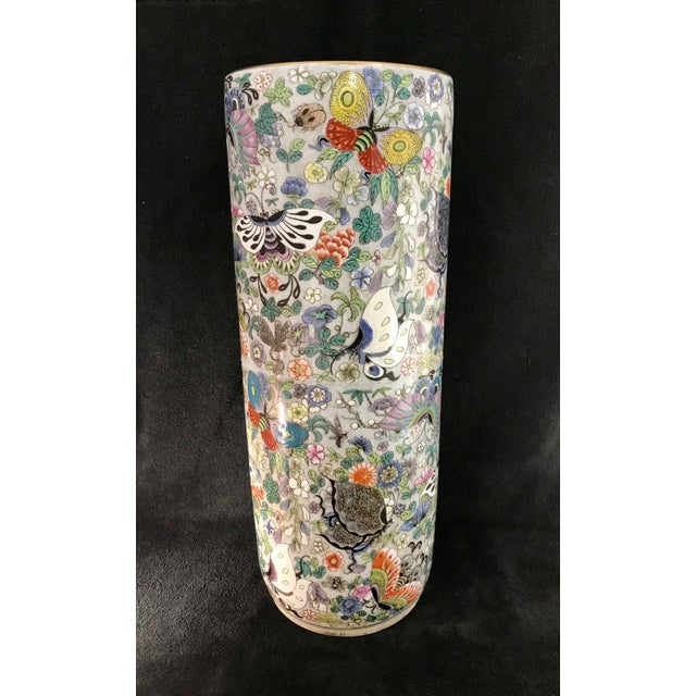 Vintage Chinese Porcelain Famille Verte Hand Painted Umbrella Stand For Sale - Image 10 of 10