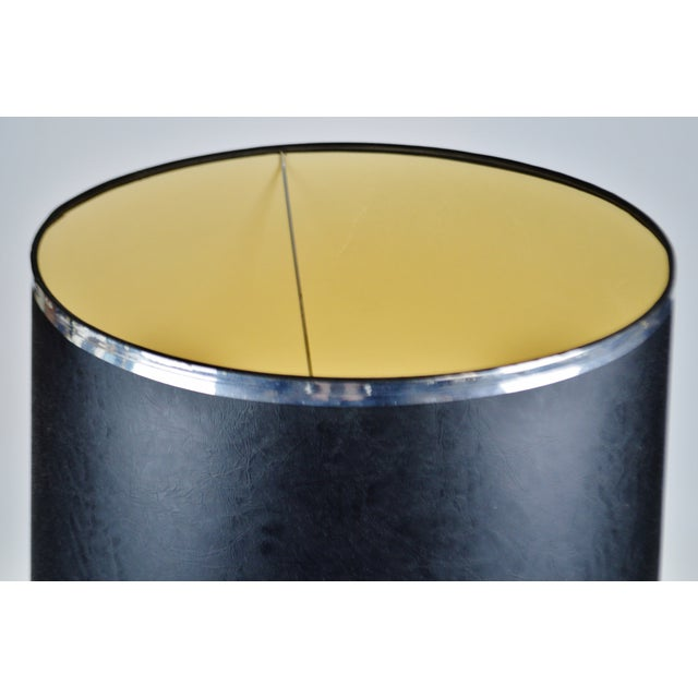 Mid-Century Modern Vintage Black Textured Vinyl Drum Lamp Shade For Sale - Image 3 of 13