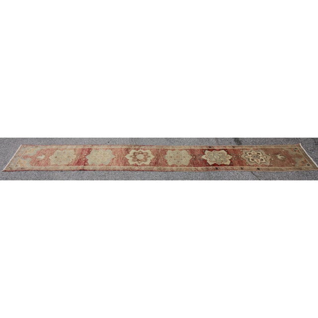 Tribal Antique Turkish Oushak Hand Knotted Rug - 1'8 X 12'9 For Sale - Image 4 of 6