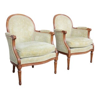 Baker Furniture French Provincial Louis XVI Fauteuils, Pair For Sale
