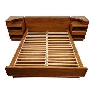 Danish Platform Bed With Nightstands For Sale