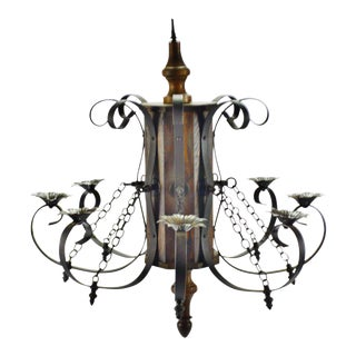 Vintage 8 Arm Wood and Iron Chandelier For Sale
