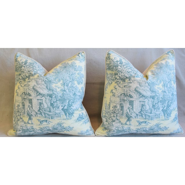 """French Farmhouse Country Toile Feather/Down Pillows 24"""" Square - Pair For Sale In Los Angeles - Image 6 of 13"""