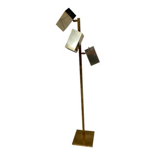 1970s Koch and Lowy Modernist Brass Floor Lamp For Sale