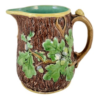 Minton English Majolica Rustic Oak Leaf & Snail Pitcher