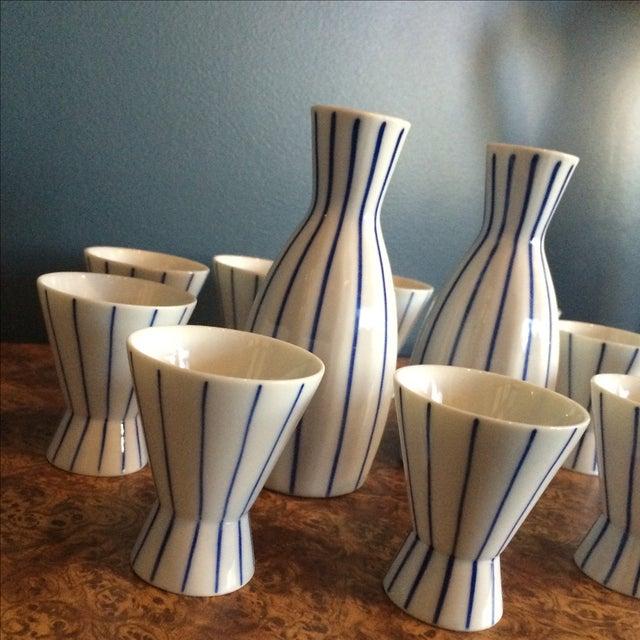 Blue & White Striped Sake Set - 12 Pieces - Image 5 of 5