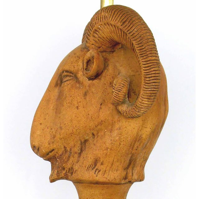 Pair of Italian Terracotta Ram's Head Table Lamps - Image 5 of 6