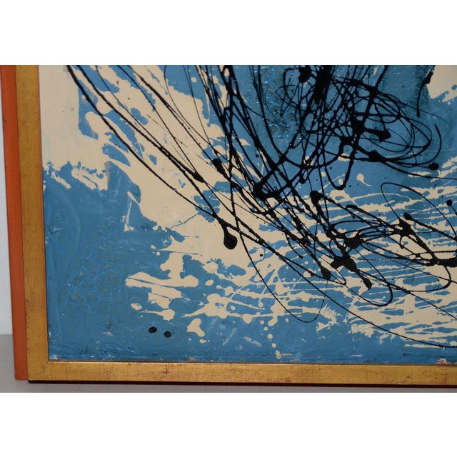 Blue Abstract Expressionist Oil Painting by Van Winkle C.1950s For Sale - Image 8 of 12