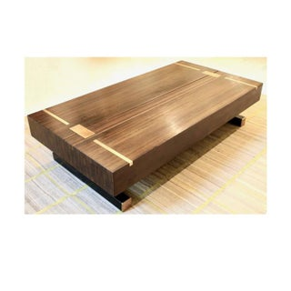 Contemporary Coffee Table, Using a J. Wabbes 1960's Wenge End-Grain Wood Top