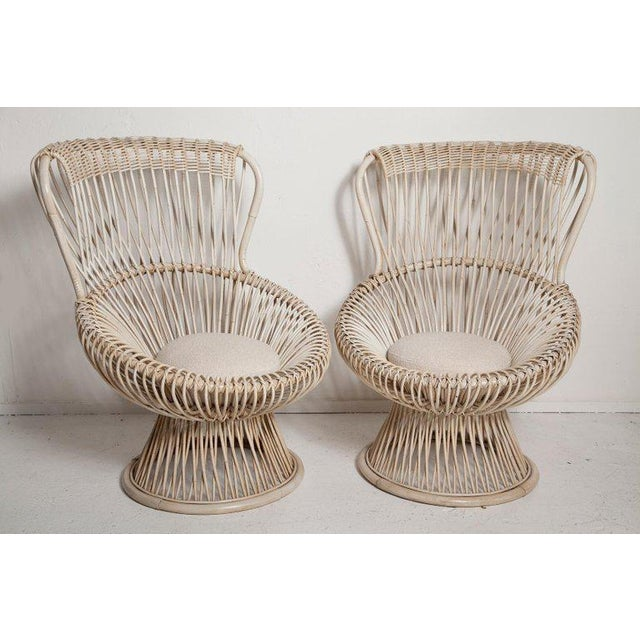 Professionally Restored pair of 1950s bamboo and rattan Margherita chairs, designed by Franco Albini for Vittorio...
