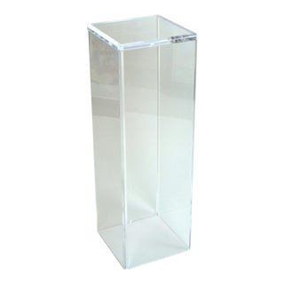 Vintage Modern Clear Acrylic Lucite Pedestal Sculpture Stand For Sale
