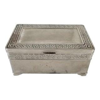 Vintage Vera Lucino Greek Key Design Silver Plate Decorative Box For Sale