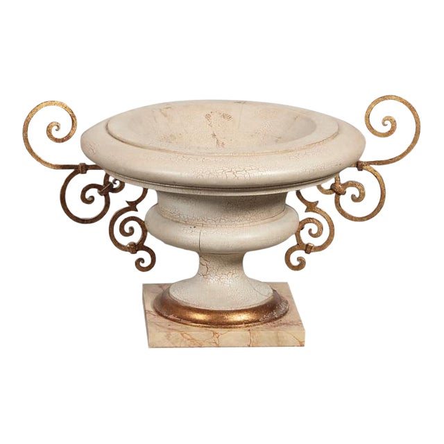 Las Palmas Design 'Treviso' Parcel Gilt and Faux Marble Paint Decorated Urns For Sale