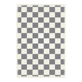 Green & White English Checkered Rug - 4' X 6'